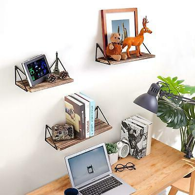 Floating Shelves Wall Mounted Rustic Wood Set Of 3 Home Offi
