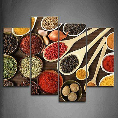 framed colorful spice spoon food