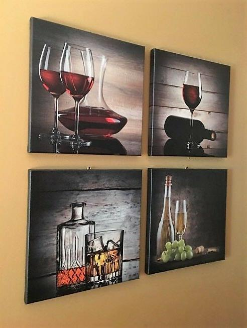 FRAMED Vintage Red Wine Glass Canvas Prints Art Kitchen Decor Picture