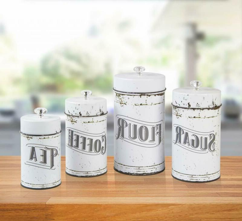 French White 4 Canister Set