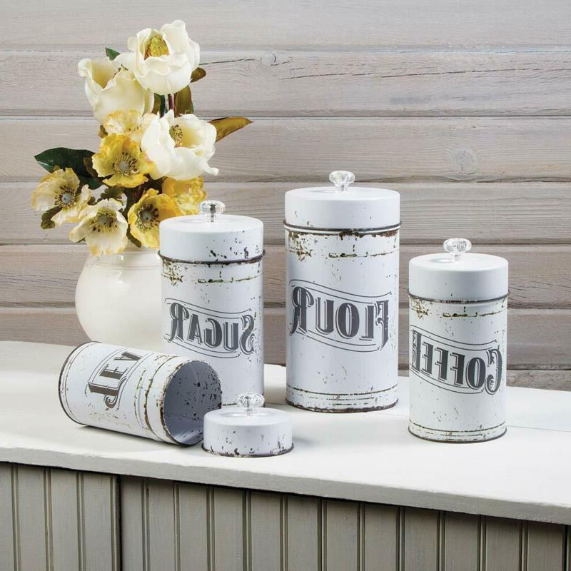 French Country Vintage White Piece Canister Set