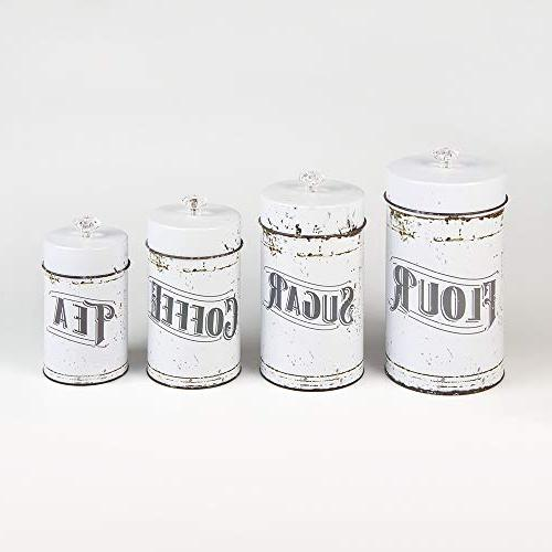 French Country Style White Piece Canister Set