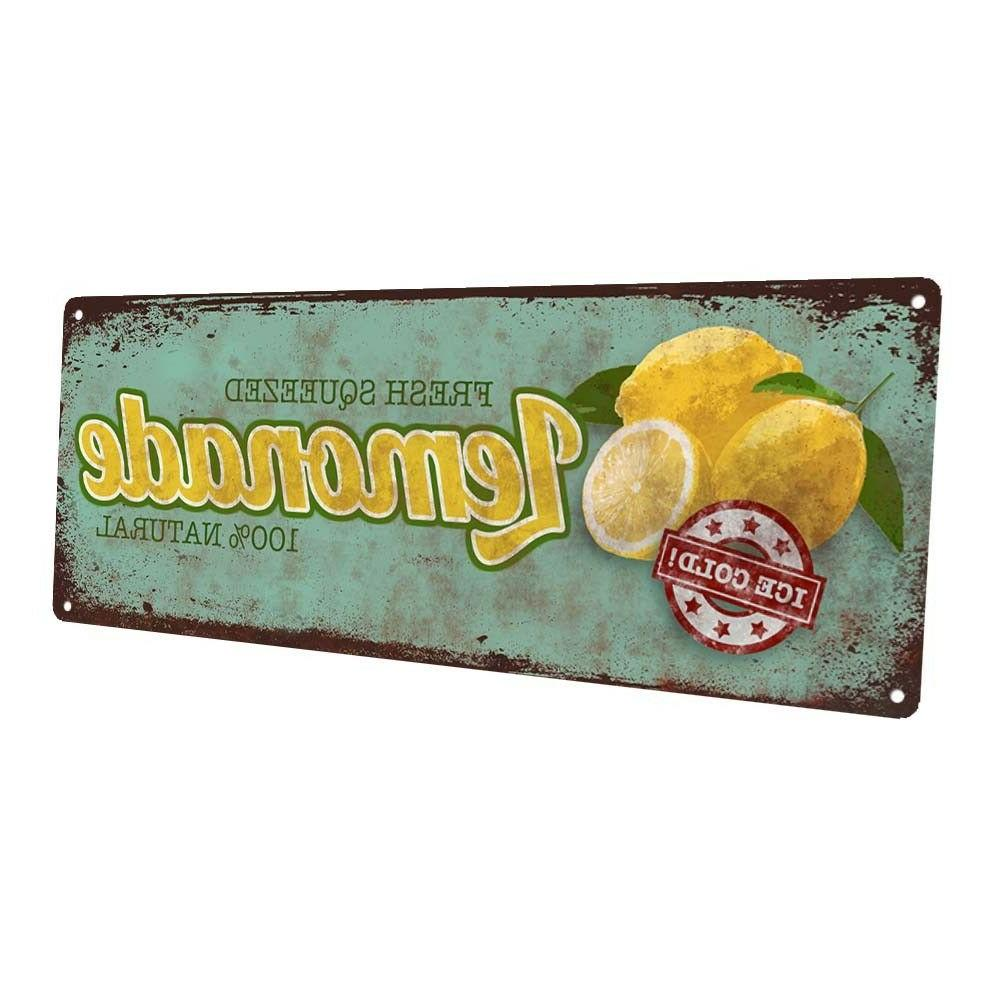 fresh squeezed lemonade metal sign wall decor