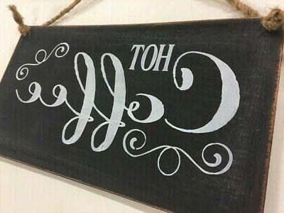 Hot Coffee black chalkboard style decor bistro Kitchen Wood Sign