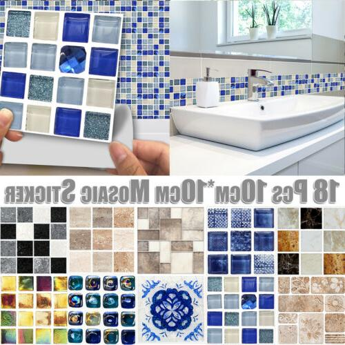 18 Pcs Tiles Mosaic Wall Sticker Art Waterproof Decals Bathr