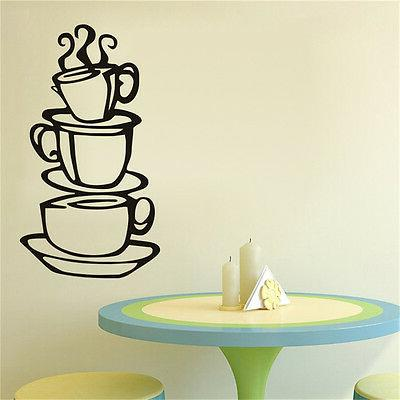 Kitchen.Coffee Cup Removable Wall Decor Art DIY G3