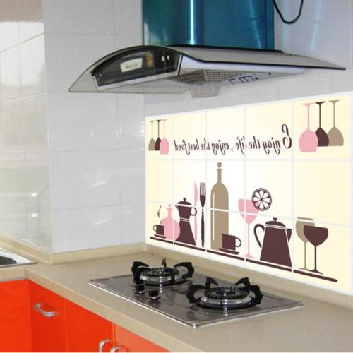 Kitchen Oilproof Stickers Decal Home Mural Wine Glass Art Decor *