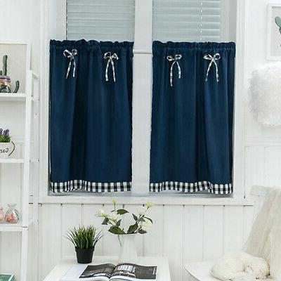 kitchen solid color bows short curtain window