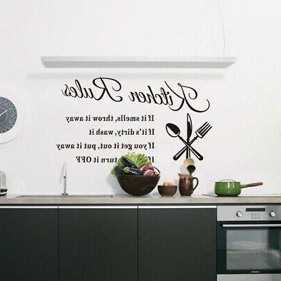 Kitchen Wall 3D Removable Mural Home Rules Decor US