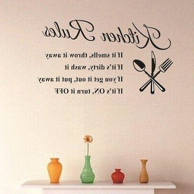 Kitchen Stickers 3D Removable Mural Rules Quote US