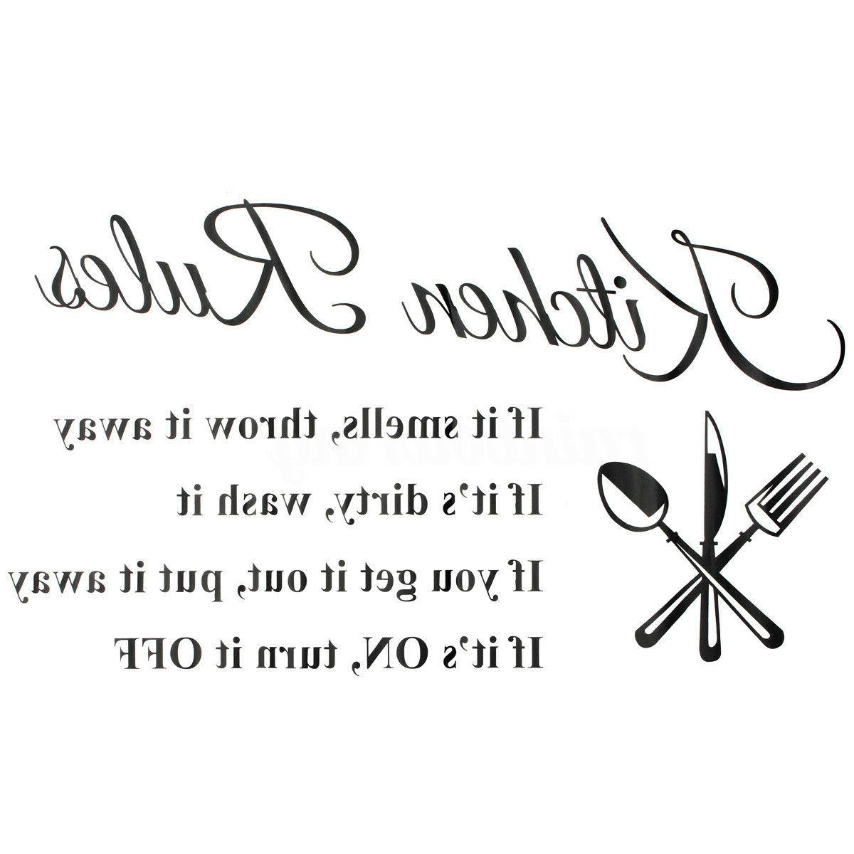 Kitchen 3D Removable Home Rules Quote Decor Decal