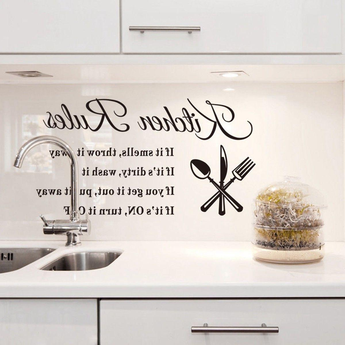 Kitchen Wall 3D Removable Home Rules Quote Decal