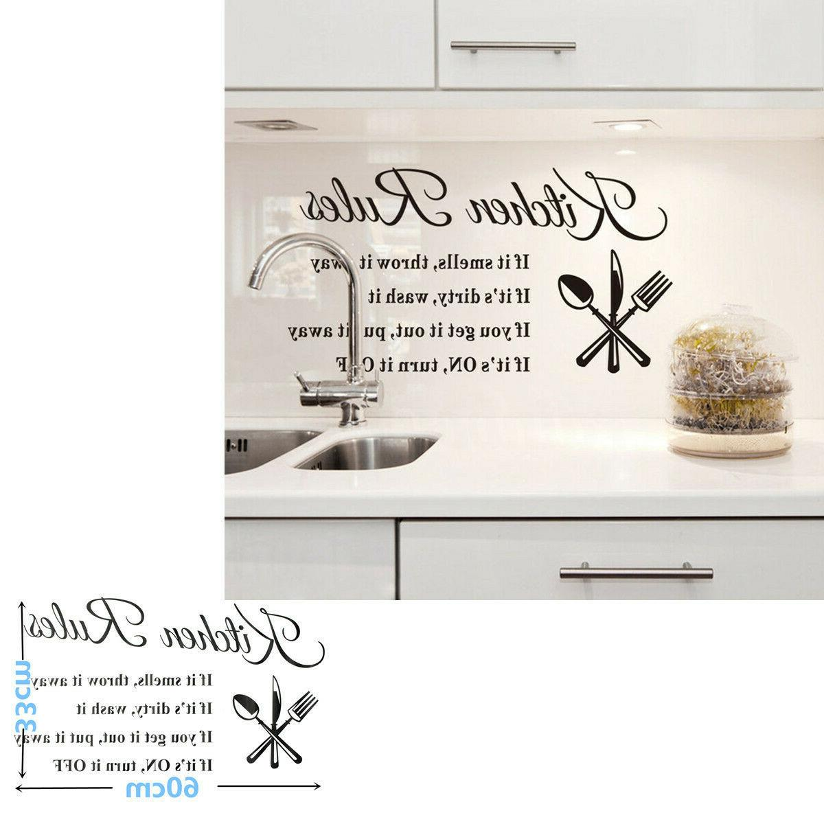 Kitchen Stickers DIY 3D Removable Home Rules Quote Vinyl Mural Decal
