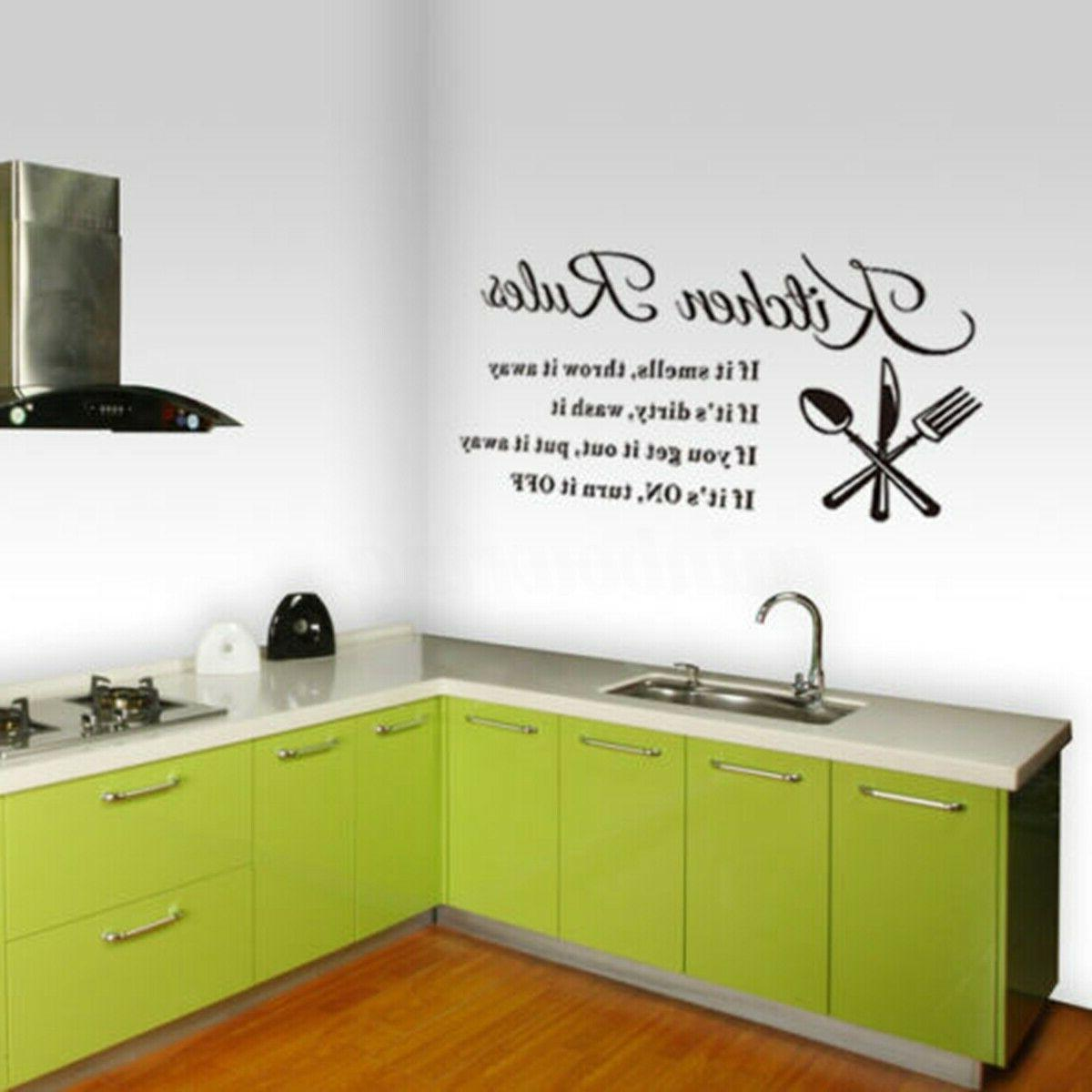 Kitchen Stickers 3D Removable Home Rules Quote Vinyl Decal