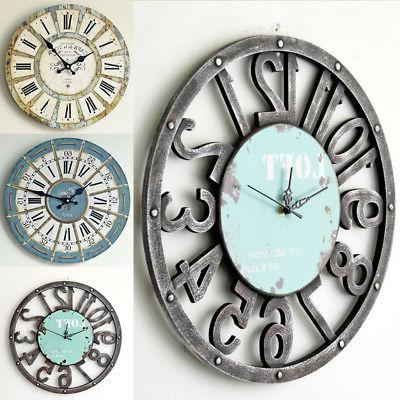 Large 35cm Vintage Wooden Wall Clocks Shabby Chic Rustic Kit