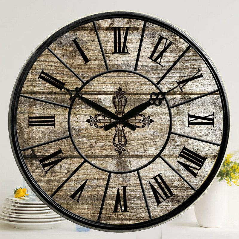 38 cm Large Wooden Wall Clocks Room Home Silent Decor Retro