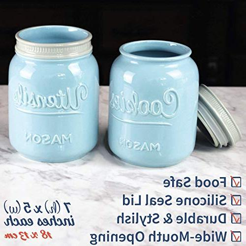 Mason Cookie & Large Ceramic Cookie Jar - Utensil Holder - Decorative Air Container For Cookies, Other Snacks