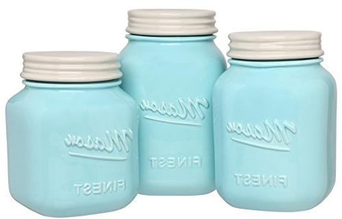 Sparrow Decor Kitchen Canister Set Set 3 Kitchen Canisters - Large, Ceramic Vintage, Rustic, or Farmhouse Look - for Flour, Sugar, Coffee More