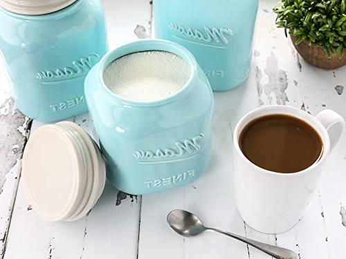 Sparrow Mason Kitchen Set Set 3 Canisters - Ceramic Vintage, Rustic, or Farmhouse Look - Storage for Sugar, Tea, More