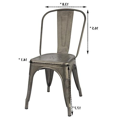 Furmax Dining Indoor-Outdoor Use Classic Trattoria Chic Bistro Cafe Metal Chairs