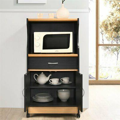 Pemberly Row Microwave Kitchen Cart in