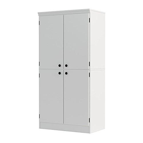 South Shore Tall 4-Door Storage with Shelves, White