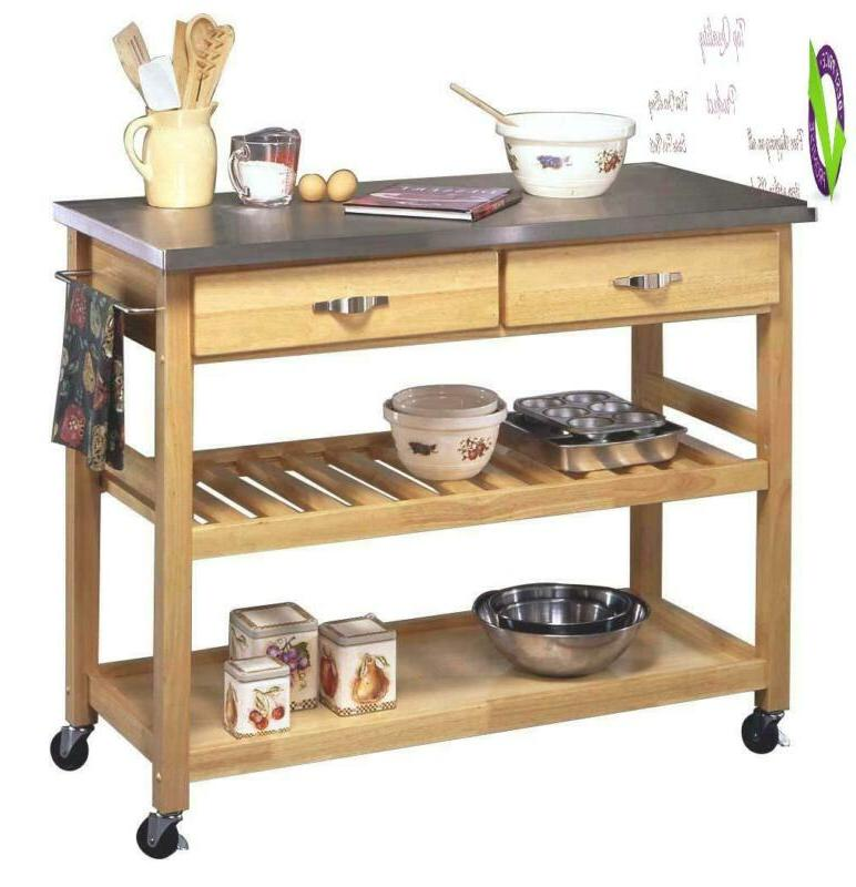 Natural With Stainless Steel Top By Home