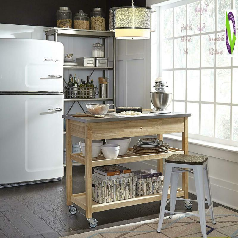 Natural Designer Utility With Stainless Top By Styles