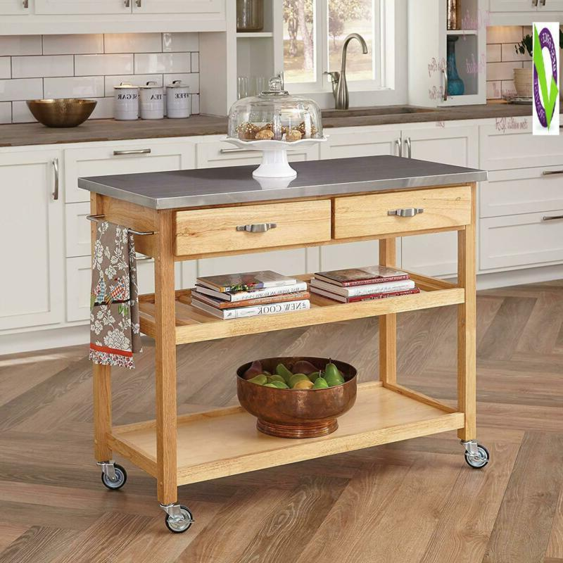 natural designer utility cart with stainless steel