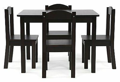 New Tot Tutors Wood Table play desk and Chairs Espresso