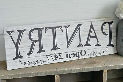 Pantry White Rustic Sign 6x18
