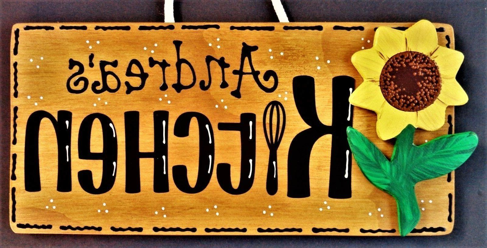 personalize sunflower kitchen name sign wall hanger