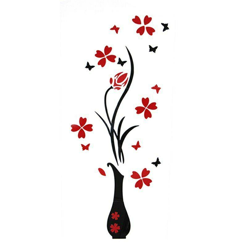 Red Flower 3D Mirror Wall Sticker Removable Kitchen Room Decor