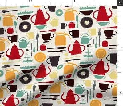 Retro Kitchen Utensils Coffee Decor Fabric Printed