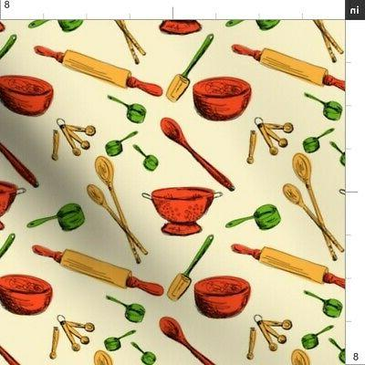 Retro Utensils Gadgets Gadget Fabric Printed by Spoonflower