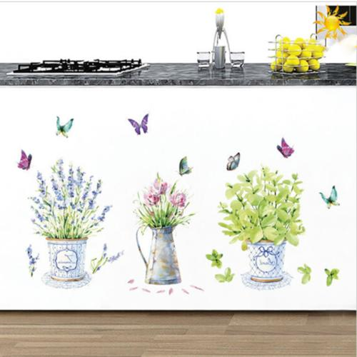 Room Wall Stickers Decor Potted Flower Glass Bathroom