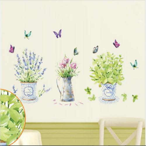 Room Wall Stickers Potted Kitchen Glass