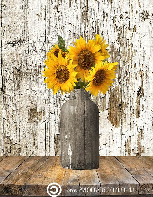 Yellow Brown Rustic Country Farmhouse Kitchen Wall Art