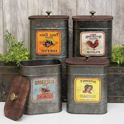rustic vintage style metal kitchen canisters decorative