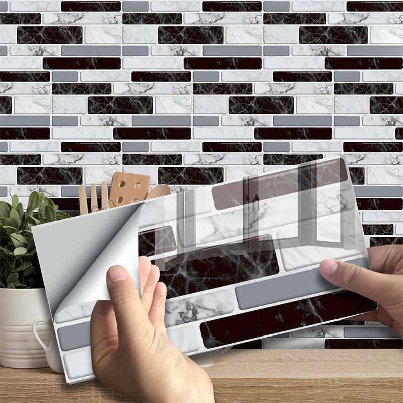 3D Self Adhesive Mosaic Tile Sticker Kitchen Bathroom Wall S