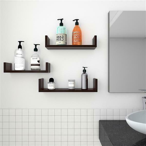 Set of 3 Display Shelves Wall Mount Storage Décor