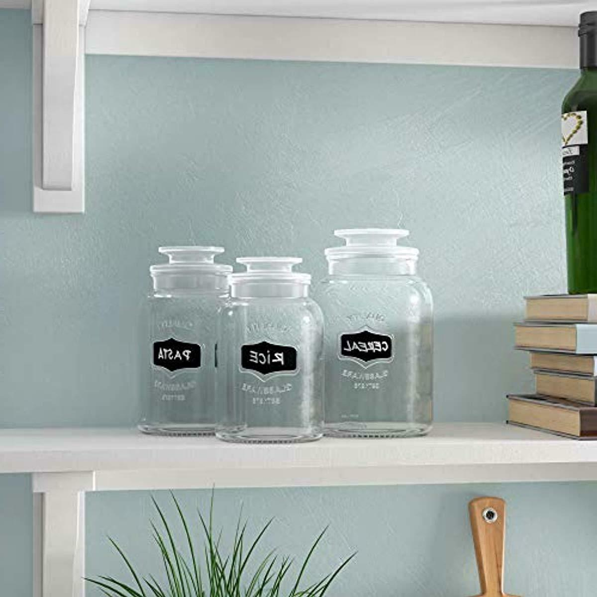 Set Round Clear Glass Jars Chalkboard with Tight