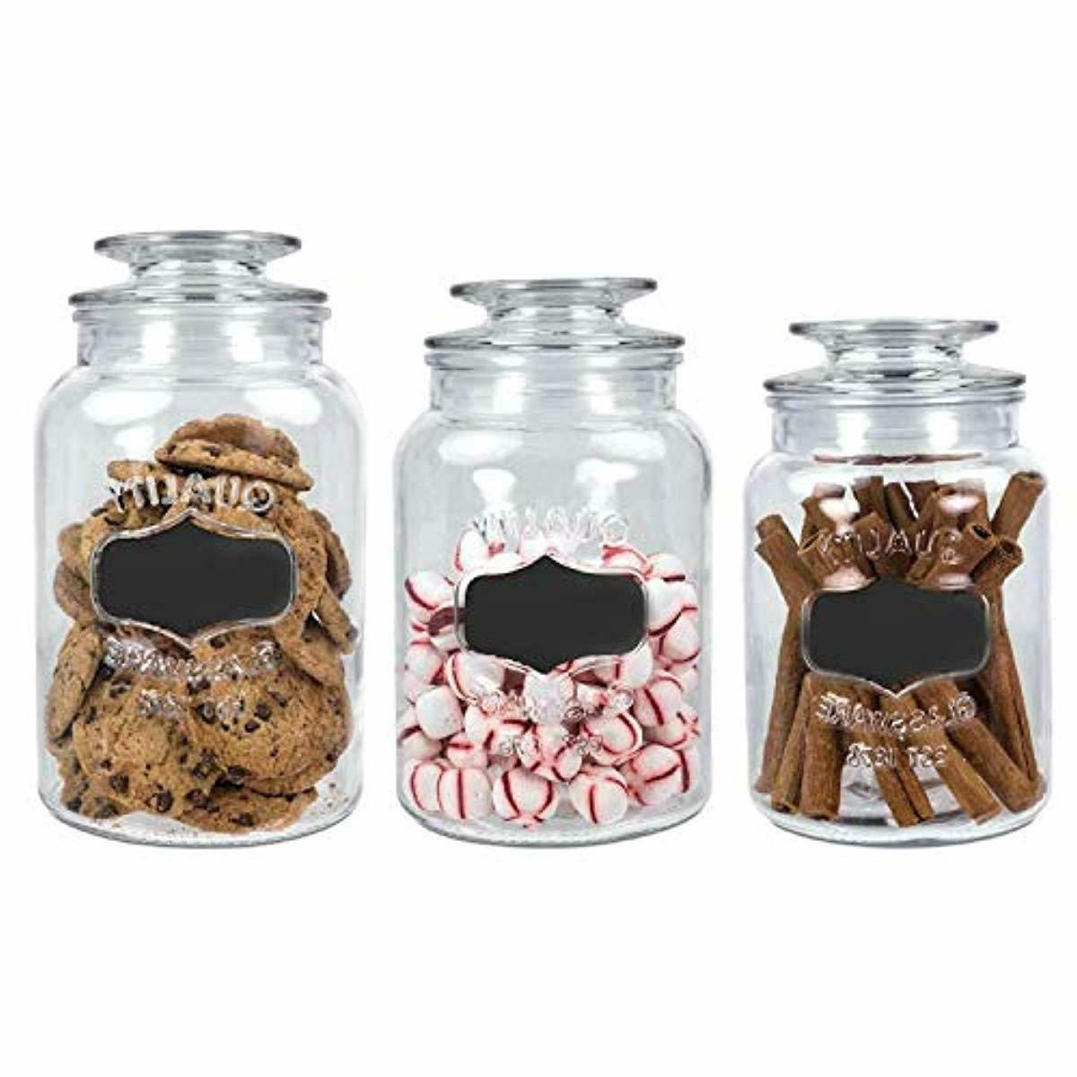 Set Clear Apothecary Canister Jars with Chalkboard with Tight L