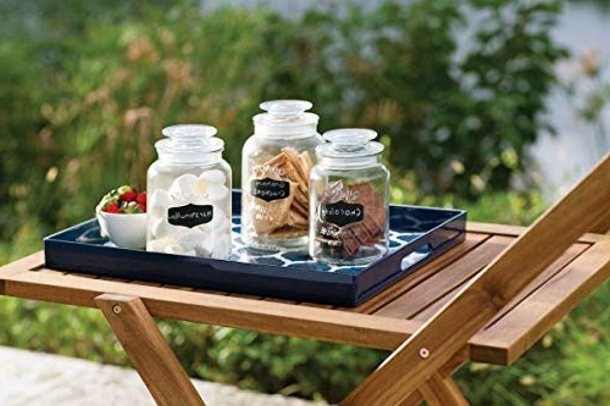 Set of 3 Clear Apothecary Glass Canister Jars with Chalkboard Tight L