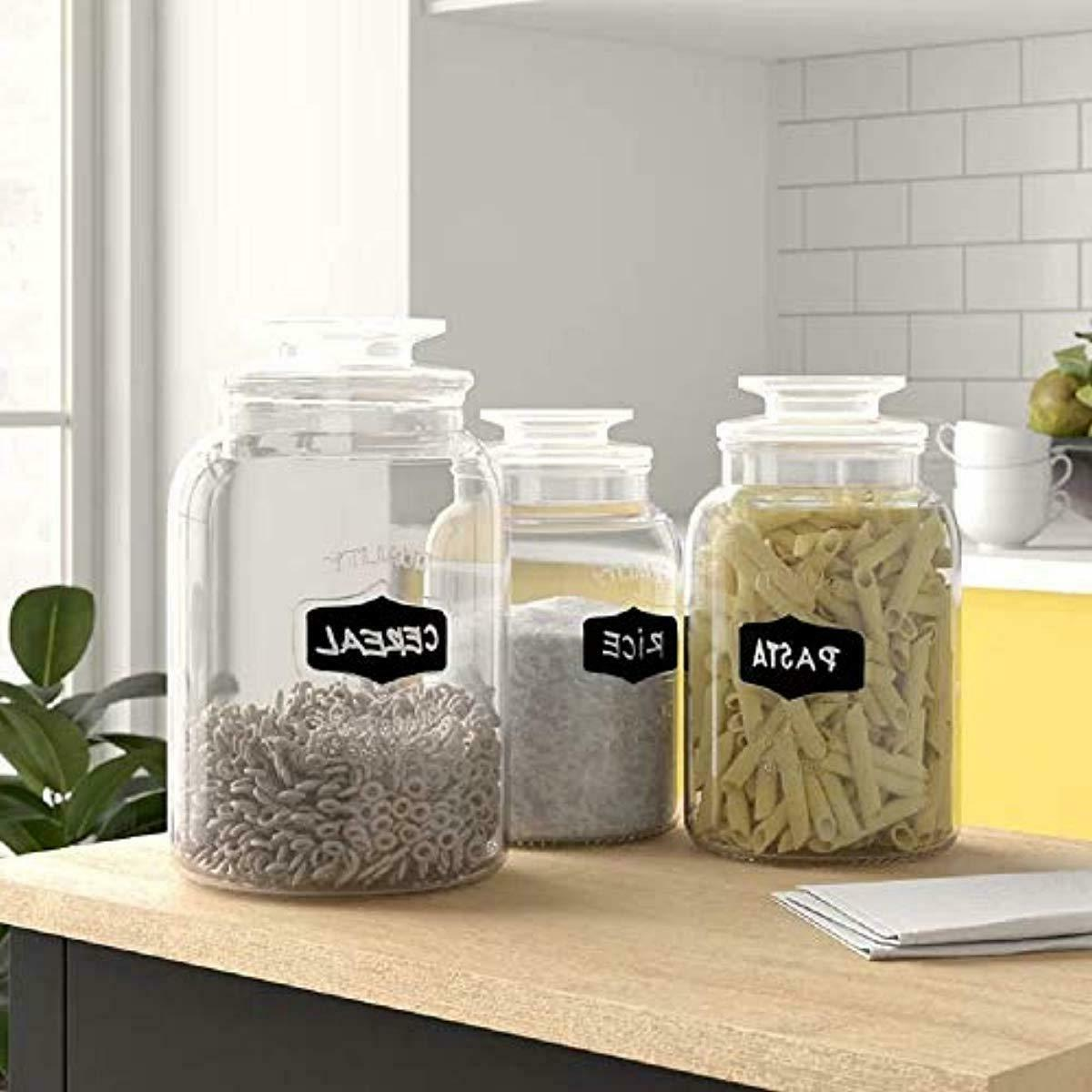 Set of 3 Clear Apothecary Jars Chalkboard Tight