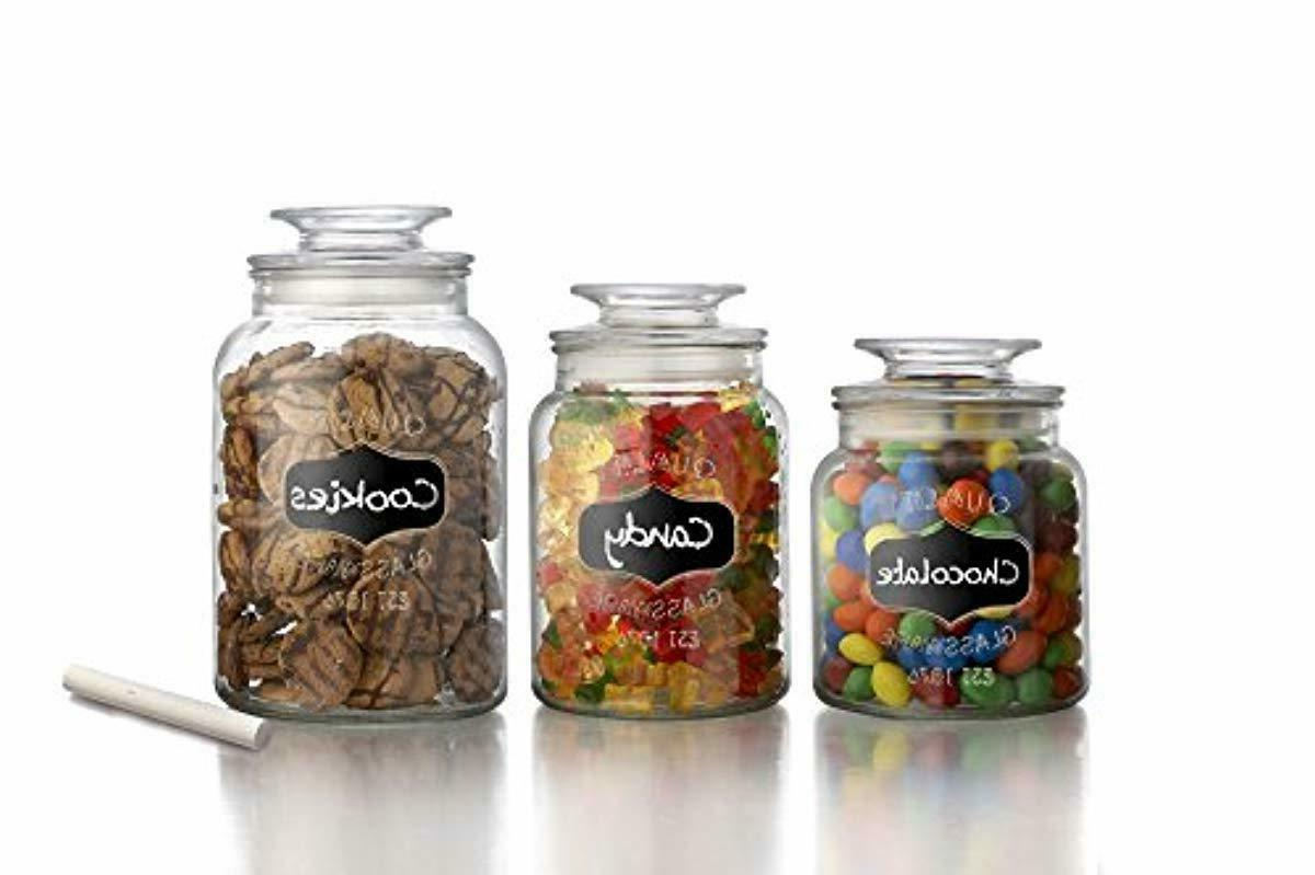 Set of Round Clear Apothecary Jars with Tight