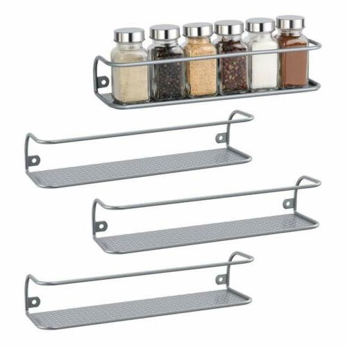 Set of 4 Wall-Mounted Racks Spice Bottles Holder Cosmetic Or