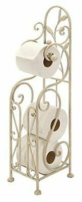 Shabby Chic Toilet Paper Holder Metal 24 by 8 In Off White N