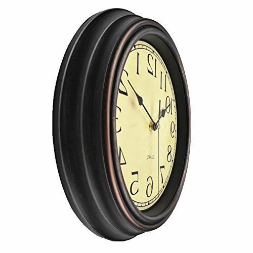 Foxtop 12 Non-Ticking Round Retro Operated Clock Living Room Kitchen Office