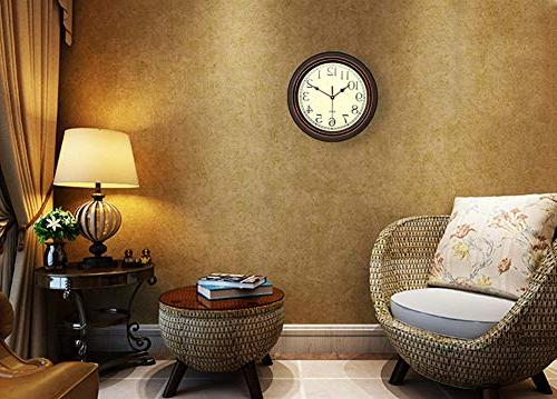 Foxtop Silent Non-Ticking Retro Decorative Operated Clock for Living Room Office